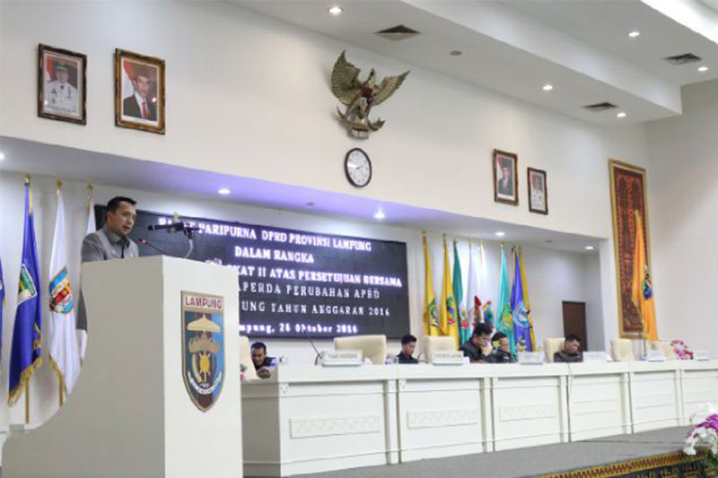 Gubernur Lampung: Belanja APBD Provinsi Lampung Meningkat 10,43 % Pada Perubahan Tahun 2016