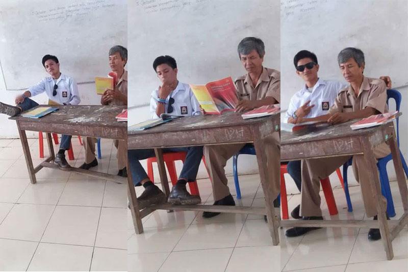 Miris! Di Samping Gurunya Siswa Ini Merokok dan Mengangkat Kaki ke Atas Meja