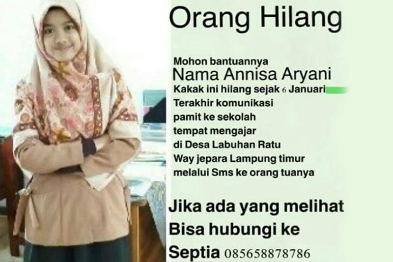 Annisa Aryani, Guru Asal Lampung Timur Ini Hilang Secara Misterius