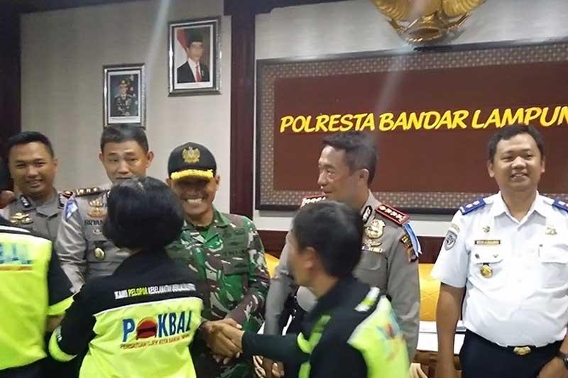 Dishub dan Danramil Minta Semua Ojek di Bandar Lampung Jaga Kondusifitas 2