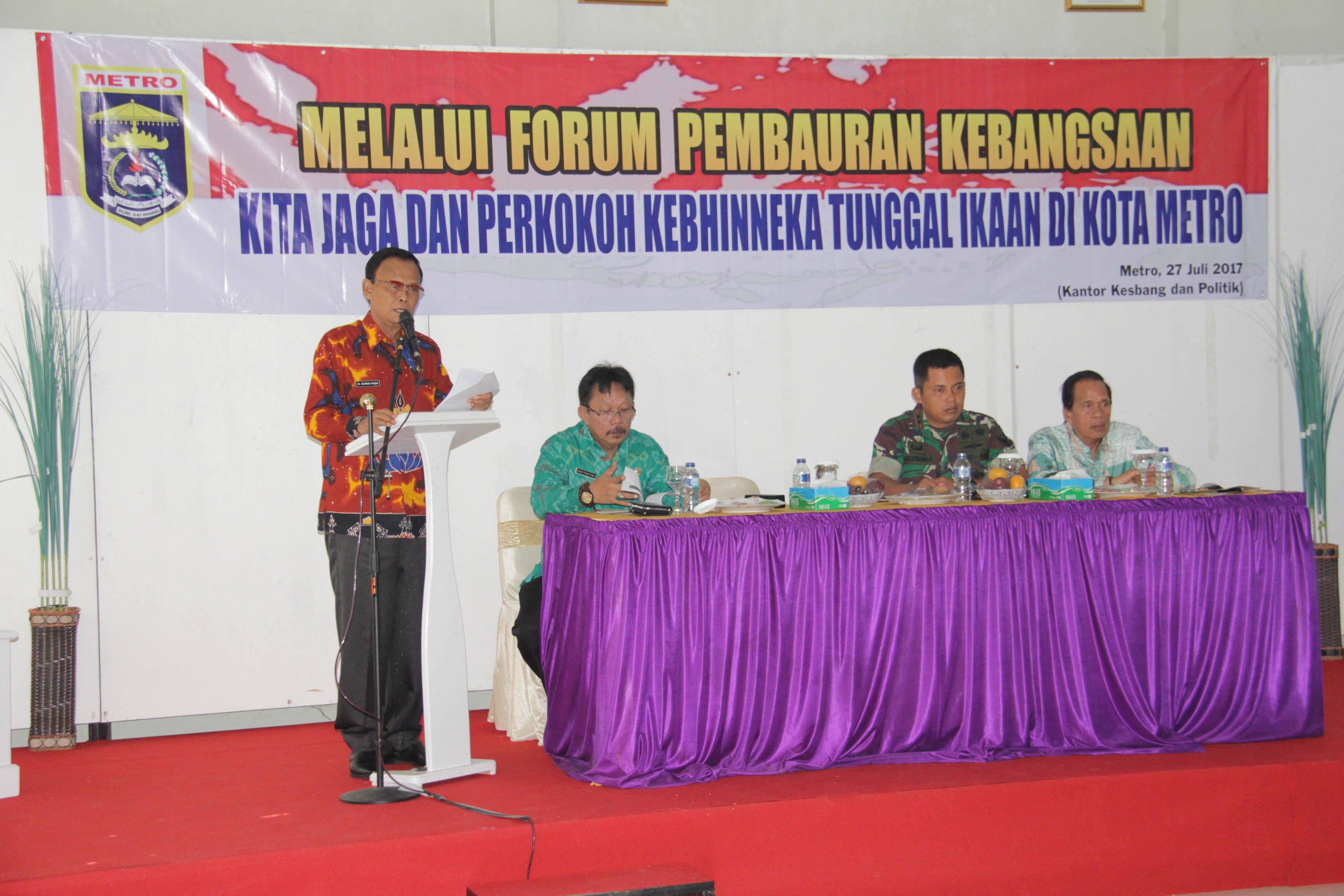 Walikota A. Pairin Saat Memberi Sambutan Pada Acara Sosialisasi Forum Pembauran Kebangsaan Kesbangpol Kota Metro.