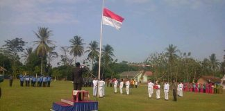 Upacara HUT RI di Pekon Enggalrejo Kec. Adiluwih Kab. Pringsewu. Foto : Sebatin.com.