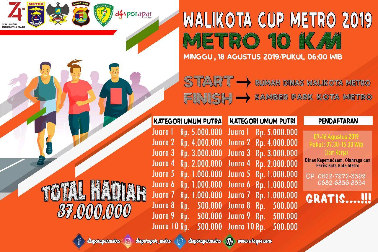 Ada Hadiah Total 37 Juta Rupiah, Buruan Daftar Lomba Lari 10 Km Walikota Cup 2019