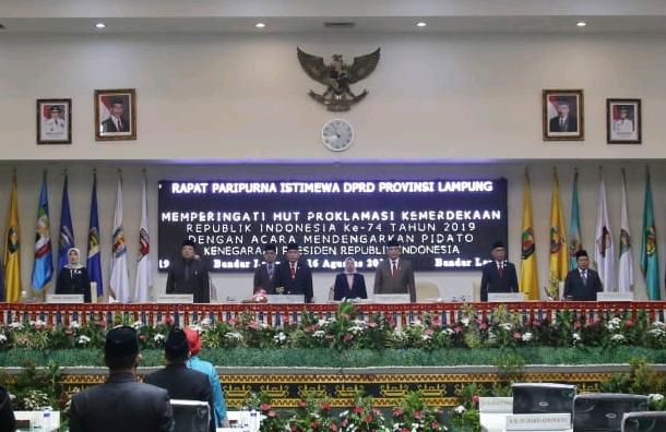 DPRD Provinsi Lampung Gelar Paripurna HUT Proklamasi Kemerdekaan RI Ke-74 01