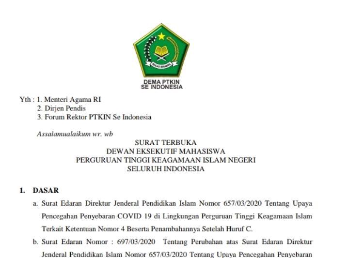 Masa Pandemi Covid-19, DEMA PTKIN se-Indonesia Tuntut Kemenag RI Untuk Pro Mahasiswa 01