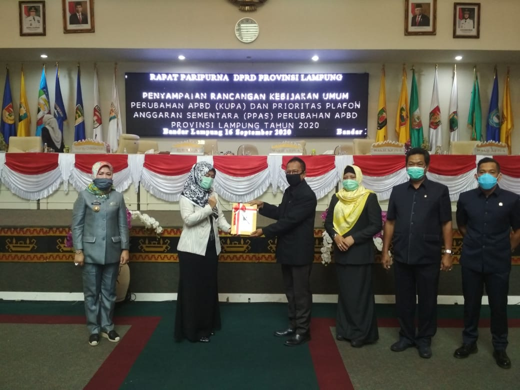DPRD Prov Lampung Gelar Paripurna Tentang Penyampaian KUPA dan PPAS Perubahan APBD Prov Lampung Tahun 2020 01