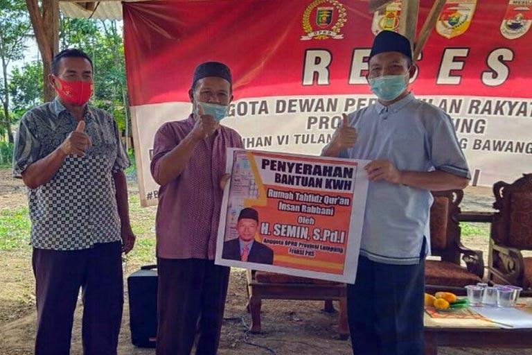 Reses DPRD Lampung, Semin Resmikan Pembangunan Rumah Tahfidz Quran Desa Pancakarsa